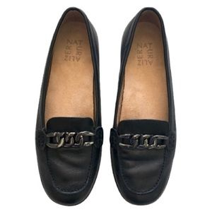 Naturalizer Black Loafer Flats Metal Chain Accent